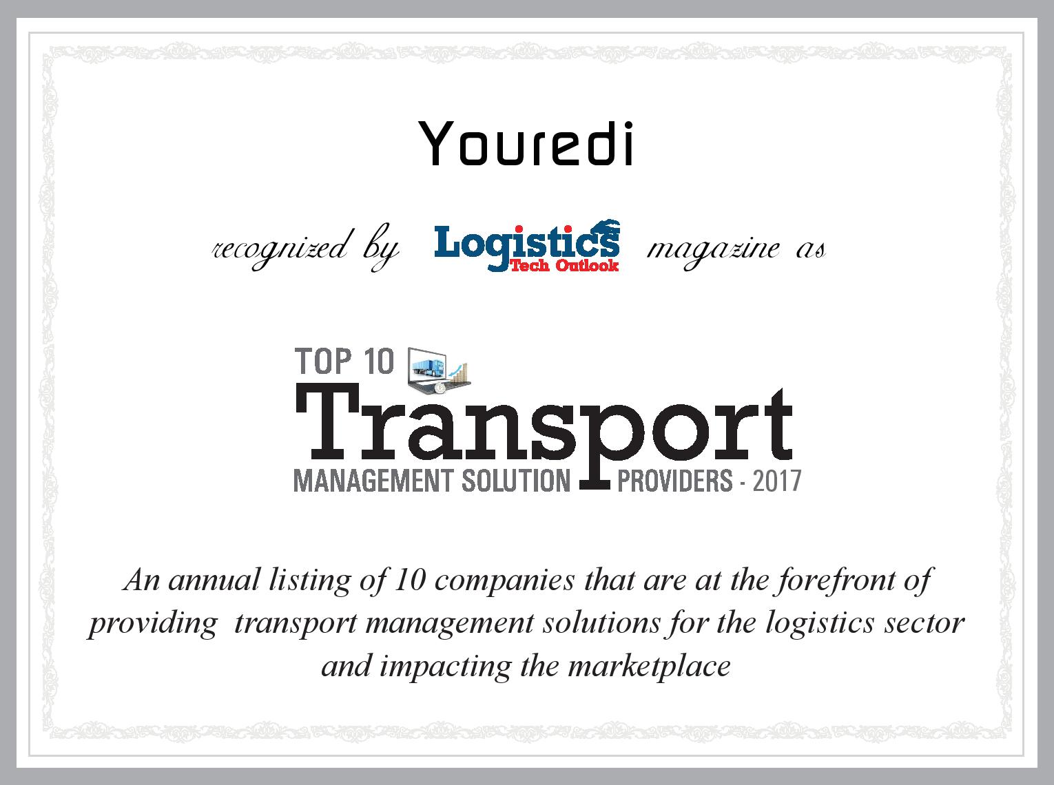 Youredi Top 10 Transport Management Solution Provider Logistics Tech Outlook 2017