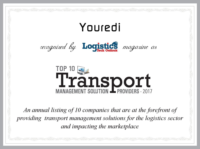 Youredi Top 10 Transport Management Solution Provider Logistics Tech Outlook 2017